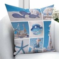 Innego niebieski biały latarnia morska Sea Star Sailor wysłać Patchwork 3D drukuj rzuć poszewka na poduszkę poduszka kwadratowa ukryty zamek błyskawiczny 45x45 cm w Poszewka na poduszkę od Dom i ogród na