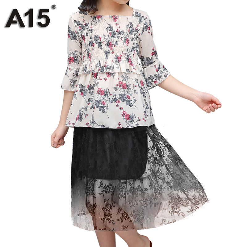 A15 Children Clothing Sets Summer Girls Sport Suit Clothes Sets Short Sleeve T Shirt+Skirt Casual 2pc Suits Big Size 10 12 Year vidmid summer girls casual clothes set children short sleeve cartoon t shirt shorts sport suits girls clothing sets for kids