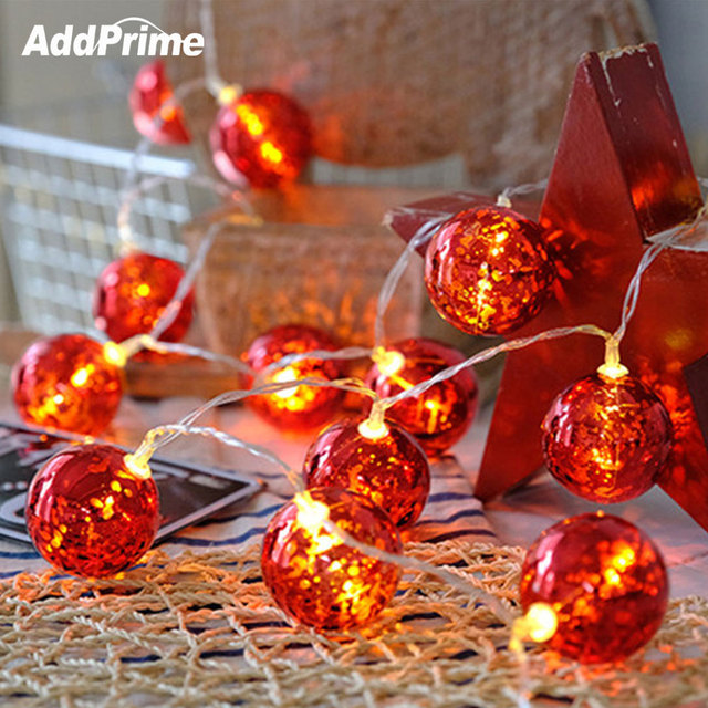 3m 20 Led Red Ball String Light Garland Lights For Christmas Tree Decor Fairy New Year Decorations Home