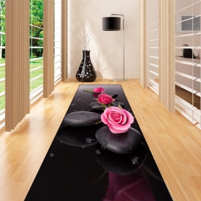 Else Black Spa Stones Pink Roses Flowers 3d Print Non Slip Microfiber Washable Long Runner Mat Floor Mat Rugs Hallway Carpets