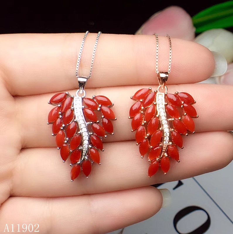 KJJEAXCMY boutique 925 sterling silver inlaid natural gemstone red coral ladies necklace pendant support inspectionKJJEAXCMY boutique 925 sterling silver inlaid natural gemstone red coral ladies necklace pendant support inspection