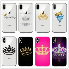 King Queen Couple crown pattern Transparent SOFT TPU Phone Case cover For iphone 6 6S 7 8 Plus 11 11PRO MAX 5 SE X XR XS Max 10 цена и фото