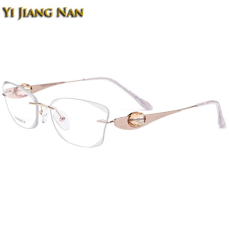 Yi Jiang Nan marque titane pur sans monture lunettes diamant coupe élégant bijoux conception de pierre optique lunettes cadre pour les femmes