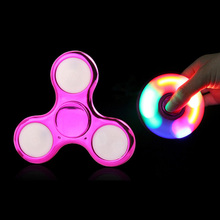 LED Decompression Light  Colorful Rotating Fingertip Gyro Children's ToyTri-leaf Glow Finger Gyro Anxiety Leisure Decompression