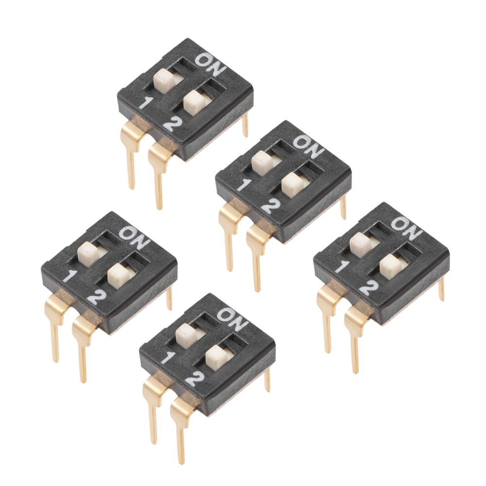 UXCELL 5Pcs DIP Switches Black Horizontal SMD 1 2 Positions 2 54mm Pitch for Circuit Breadboards PCB All Pcb Projects Supplies in Switches from Lights Lighting