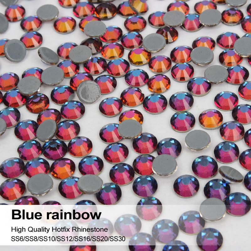 Blue Rainbow All Sizes High quality hotfix rhinestone Sparkling diamond glass ornaments Womens favorite hand clothing accessor