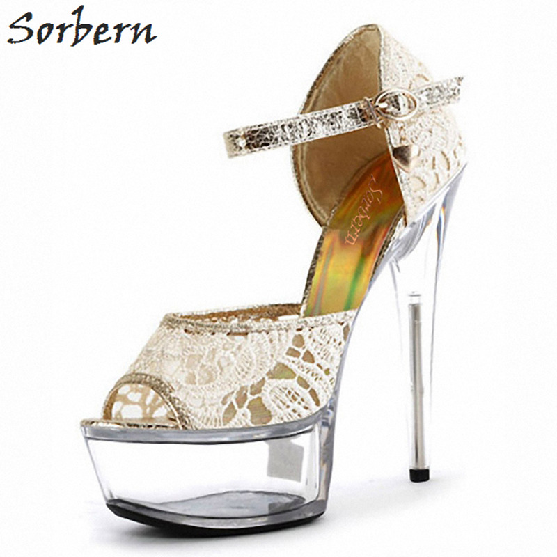 Sorbern 15Cm/17Cm Transparent Wedding Sandals Clear Heels High Sandalias Plataforma Mujer White Sandal Open Toe ShoesSorbern 15Cm/17Cm Transparent Wedding Sandals Clear Heels High Sandalias Plataforma Mujer White Sandal Open Toe Shoes