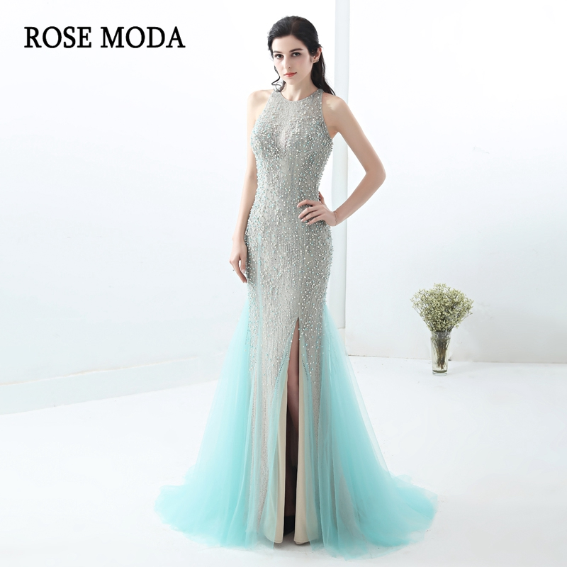 Rose Moda Blue Mermaid   Prom     Dress   2018 Crystal Lace   Prom     Dresses   Long with Slit Real Photos