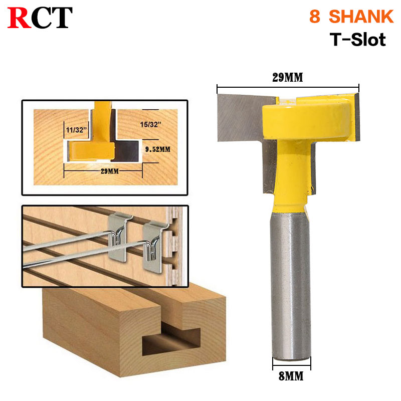 1pcs Top Quality T-Slot & T-Track Slotting Router Bit - 8 8'' Shank For Woodworking Chisel Cutter Wholesale Price 1 2 5 8 round nose bit for wood slotting milling cutters woodworking router bits