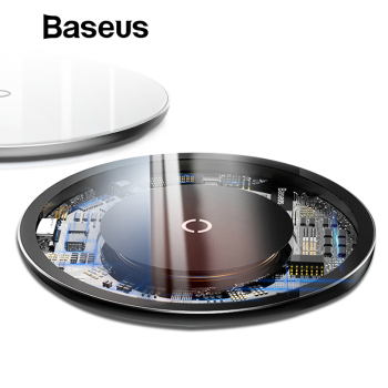 Baseus 10W Qi Wireless Charger For iPhone X 8 Transparent Glass Wireless Charging Pad For Samsung Galaxy S9 S8 Note 8 Oppo Vivo