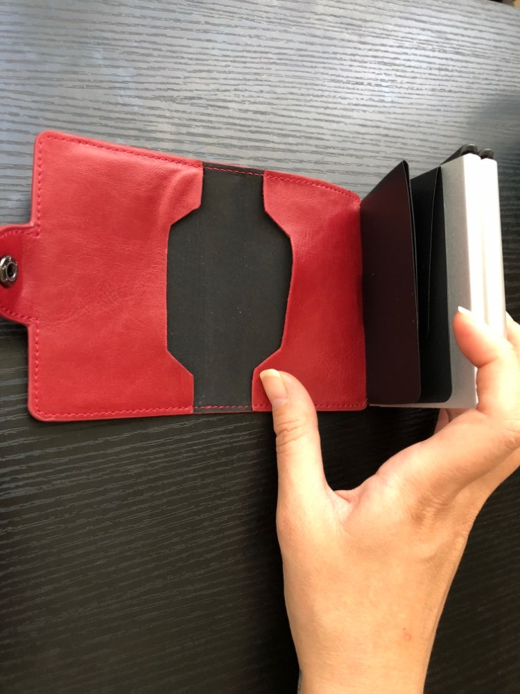 Bisi Goro 2019 Men And Women Business Credit Card Holder Metal RFID Double Aluminium Box Crazy Horse Leather Travel Card Wallet