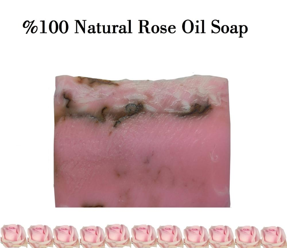 HANDMADE SOAP 4 PCS Rose Extract Acne Treatment Remove Pore Face Care Whitening Natural Bath Soaps