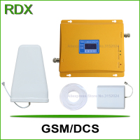 New lcd display dual band gsm 4g booster for mobile phone gsm900 4g dcs1800 cellular repeater with indoor panel antenna on sale