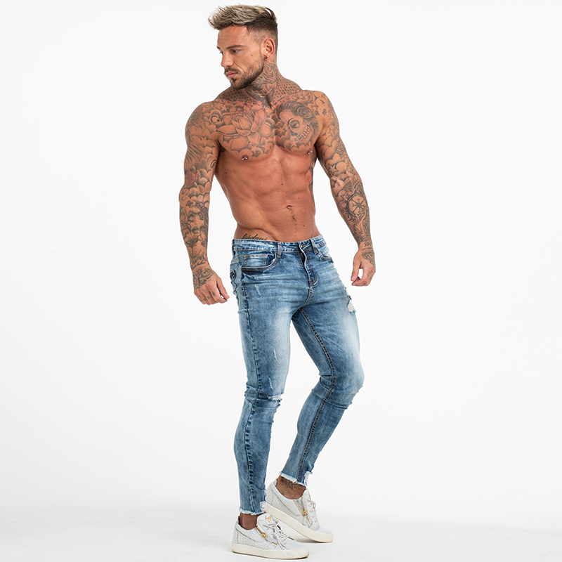 GINGTTO Ripped Jeans for Men Bottom Ripped Skinny Jeans Men Stonewashed Blue Distressed Strtech Denim Pants High Waist zm63 in Jeans from Men 39 s Clothing