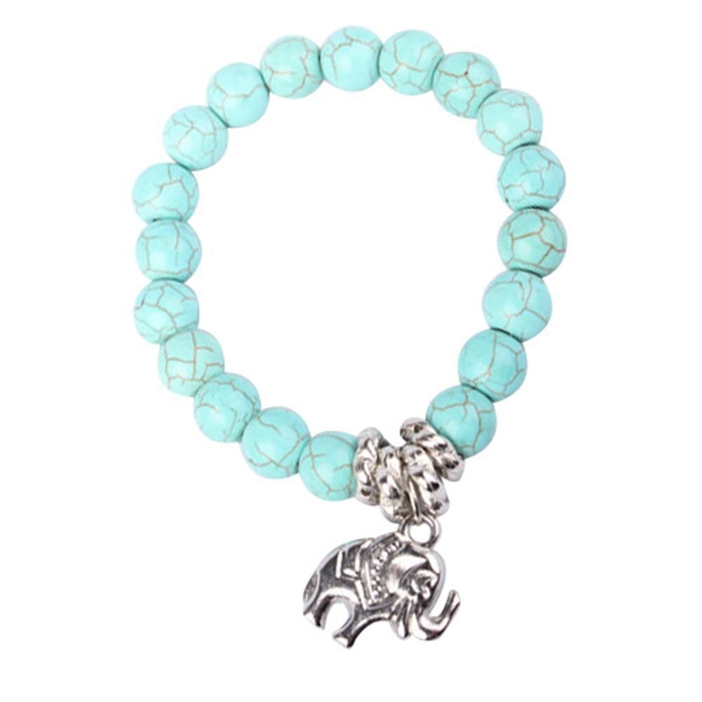 Fashion Natural Turquoise Stone Bead Tibet Silver Tone Elephant Charm Bracelet