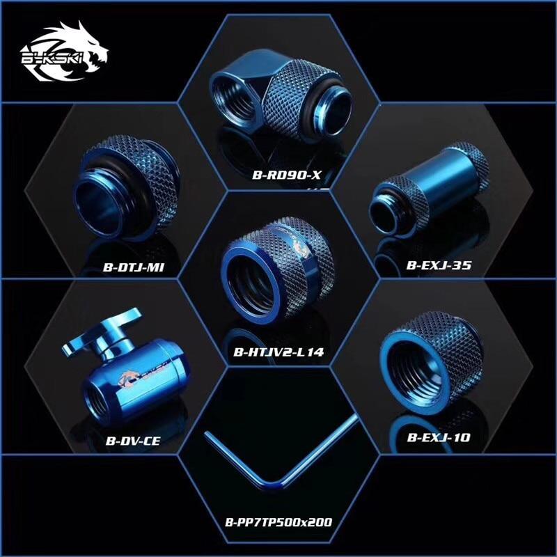 Bykski Rigid Tubing Fitting Compression Kit Valve+Angled 90+Extenders+Metal Hard Pipe 7 IN 1