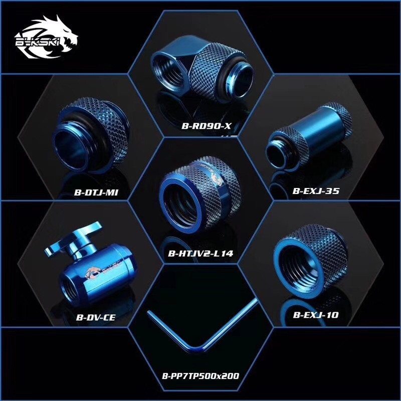 Bykski Rigid Tubing Fitting Compression Kit Valve+Angled 90+Extenders+Metal Hard Pipe 7 IN 1Bykski Rigid Tubing Fitting Compression Kit Valve+Angled 90+Extenders+Metal Hard Pipe 7 IN 1