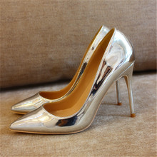Free shipping fashion women Pumps silver patent leather Pointy toe high heels shoes size33-43 12cm 10cm 8cm party bride shoes free shipping fashion women pumps sexy lady black patent leather pointy toe high heels shoes size33 43 12cm 10cm 8cm party shoes