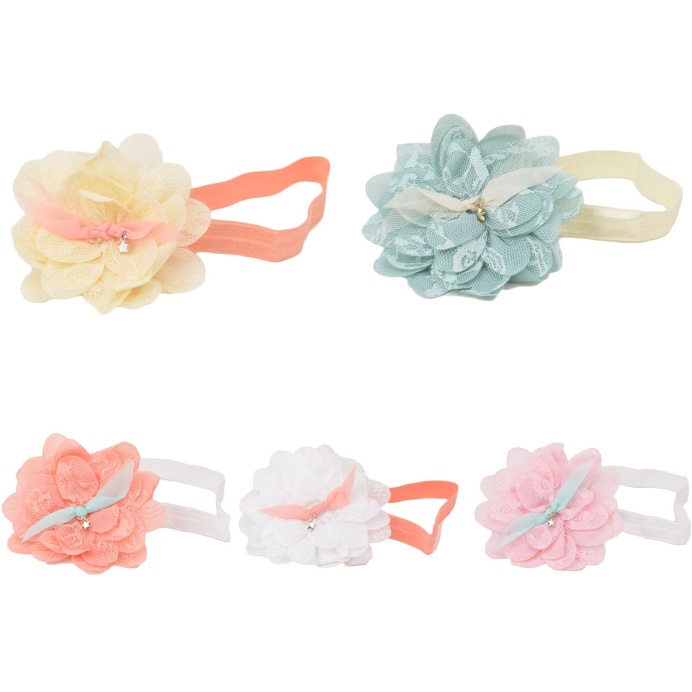 1PCS Children New Korean Girls Hair Accessories Baby Elastic Lace Flowers Headbands Newborn Infant Hair Bands Kids Headwear kids bow headbands baby girls hair bands for newborn girls hair head band children multicolor hair accressories