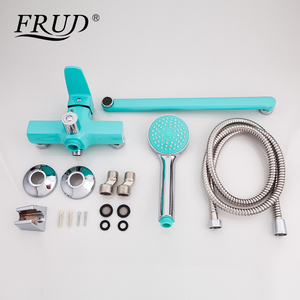 Image 4 - FRUD New Bathroom Shower Faucets set Colorful Bathtub Tap Wall Mounted Tap With Hand Shower Head robinet R22301/R22302/R22303