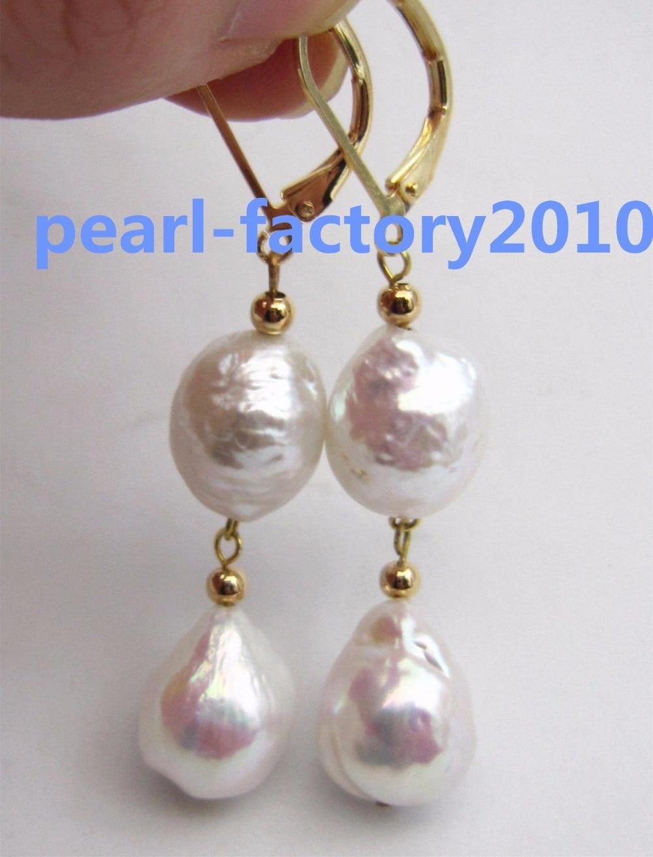 baroque 14x11MM AAA PERFECT south sea white pearl earrings >>girls jades Free shippingbaroque 14x11MM AAA PERFECT south sea white pearl earrings >>girls jades Free shipping