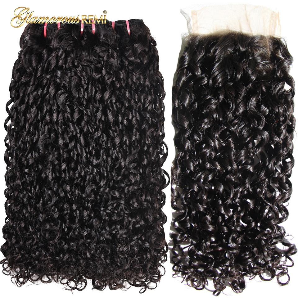 Double Drawn 3 Bundles With Lace Closure Pixie Curl Weave High Ratio 3