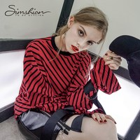 Simshion נשים פסים אדום חולצת טריקו חולצות חולצות טריקו שרוול התלקחות O-צוואר רופף מזדמן אופנה סתיו גודל אחד