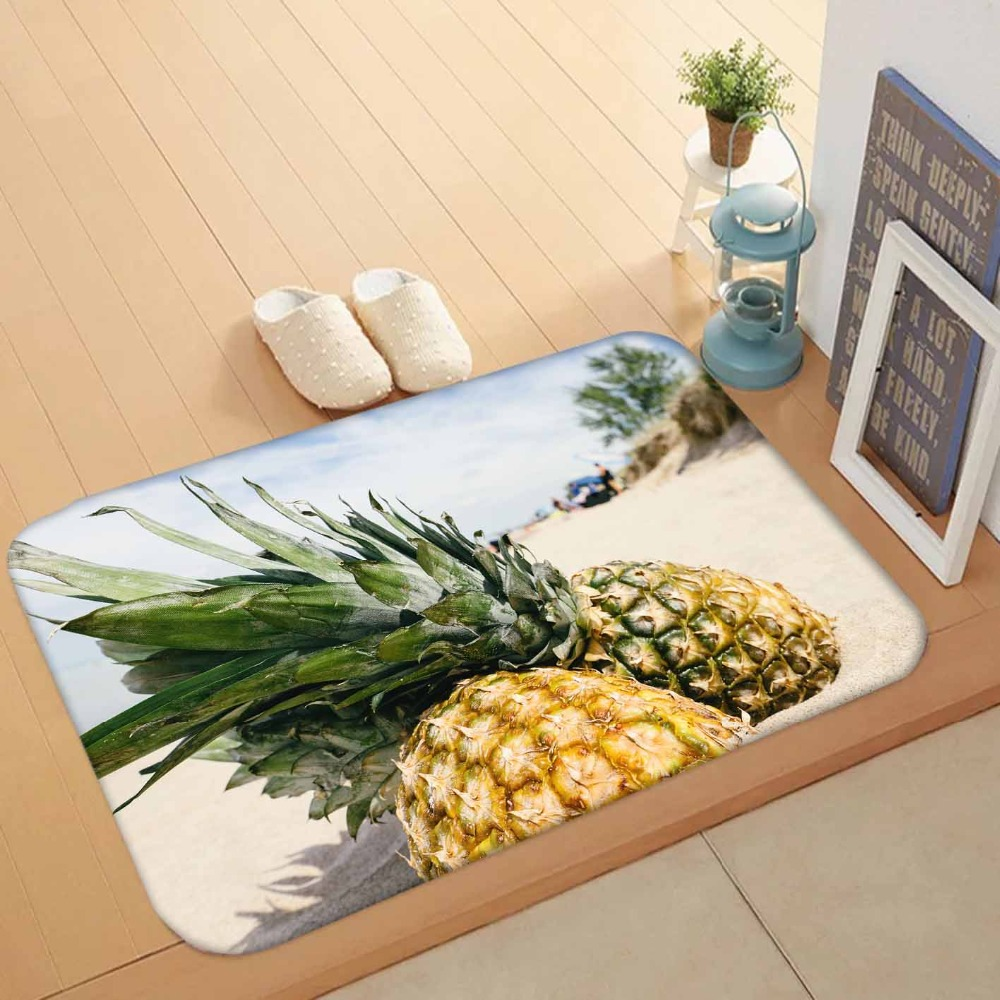 Else Blue Sky Tropical Beach Sand On Pineapple Fruit 3d Pattern Print Anti Slip Washable Doormat Home Decor Entryway Kitchen Mat