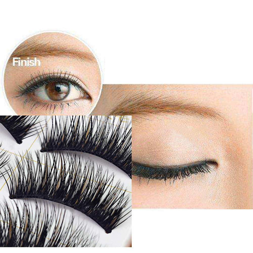 5 Pairs Soft False Eye Lashes Cross Long Thick Eyelashes Makeup Extension