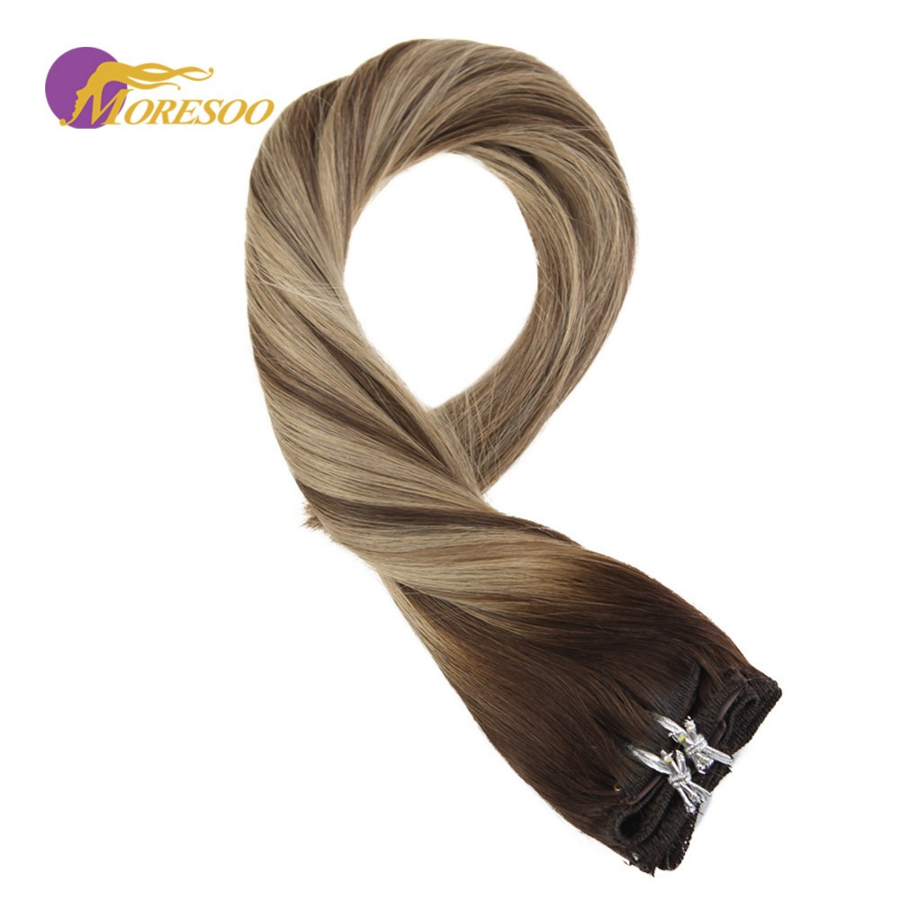 Moresoo Double Weft Clip In Human Hair Extensions Brown #3 Fading To #6 Highlighted With Blonde #16 Remy Natural Hair 100G/9PCS