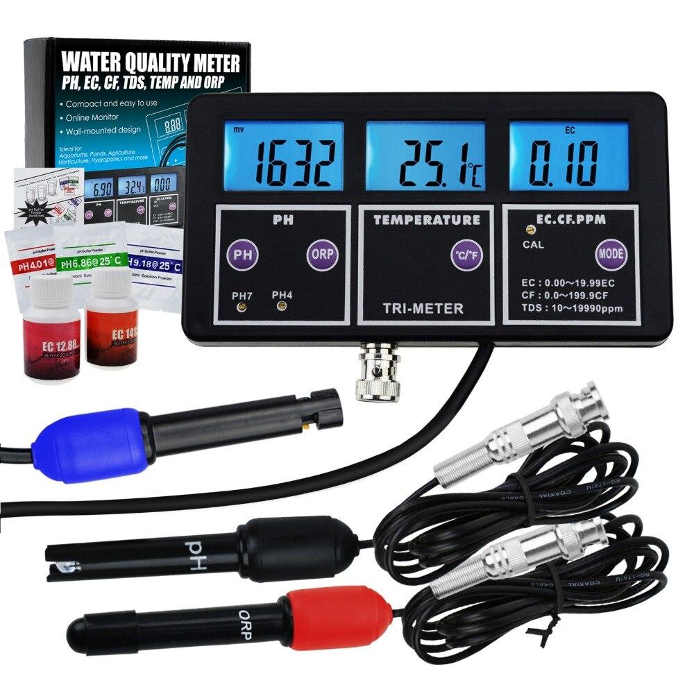 6 in 1 Professional Multi parameter pH ORP EC CF TDS PPM Temperature Combo Testing Meter