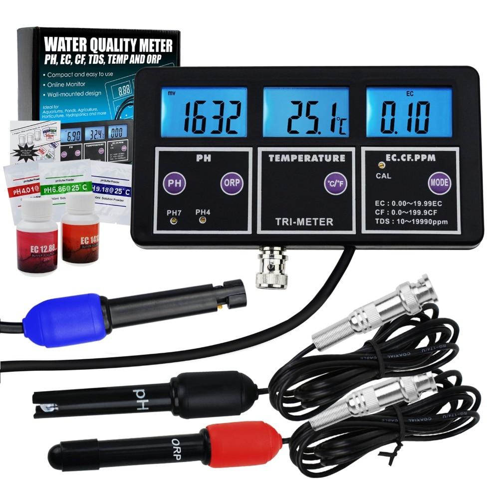 Testador de Água 6 em 1 Profissional Multi-parâmetro ec cf Tds Ppm Temperatura Combo Teste Medidor Digital Multi-função ph – Orp