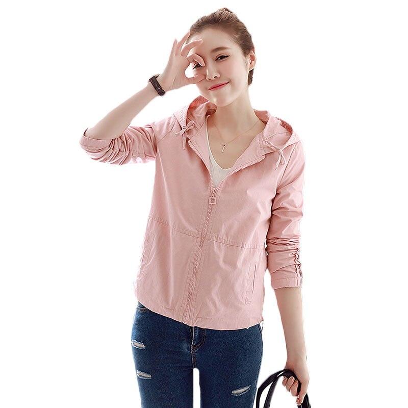Printemps Zipper Baseball Casual Khaki Veste Femelle La Jacket vent 2018 bean Plus pink Nouvelles Taille Court Green Couleur À Jacket Femmes Lq32 Capuche Automne Solide Uniforme Jacket Coupe Tlc1FKJ