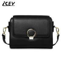 ICEV New Brand Fashion Classic Litchi Grain Cowhide Women Leather Handbags High Quality Crossbody Bags For