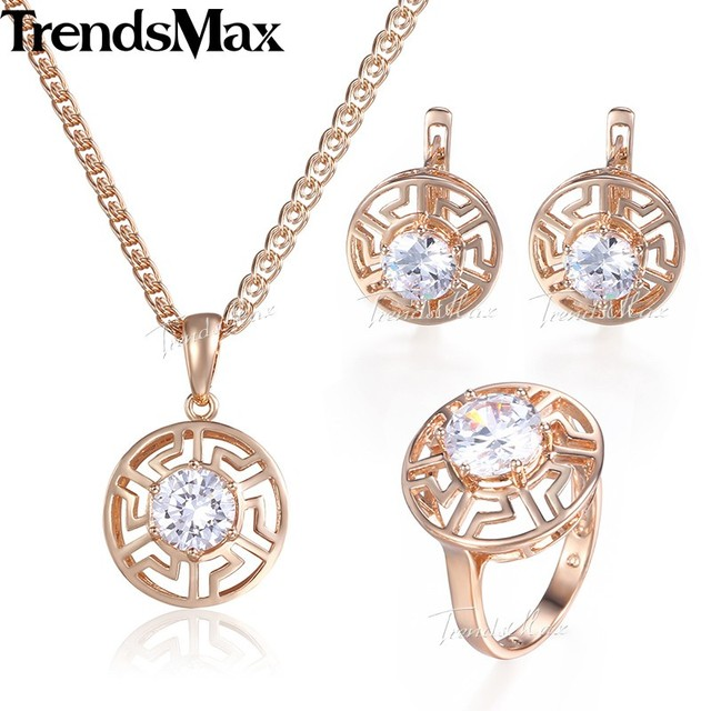Trendsmax Clear Crystal Cubic Zirconia Jewelry Set For Women 585 Rose Gold Earrings Ring Pendant Necklace Womens Jewelry KGE121