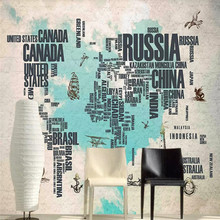 Nostalgic hand-painted letters map brick wall professional production mural factory wholesale wallpaper poster photo
