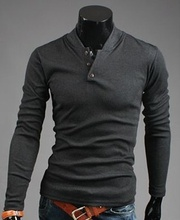 Dark gray new men's fashion long sleeve sweater