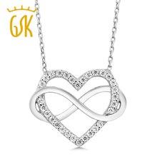 GemStoneKing Sólido Plata Esterlina 925 Joyería Fina Corazón Zirconia Colgante, Collar Infinito Para Las Mujeres