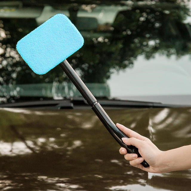 1Pcs Detachable 13 inch Window Brush Microfiber Wiper Cleaner Cleaning Brush with Cloth Pad Car Auto Cleaner Cleaning Tool Brush