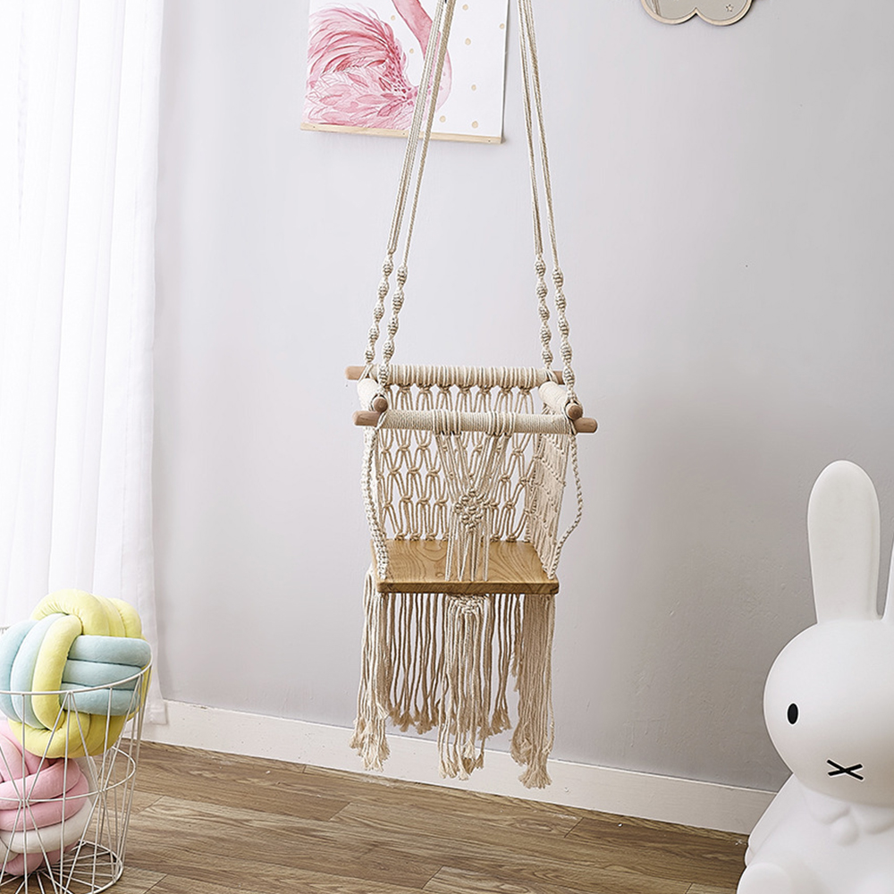 Elegance Tassels Kids Swing Solid Wood Woven Rope Children Indoor Toy Room Decor Best Gift For