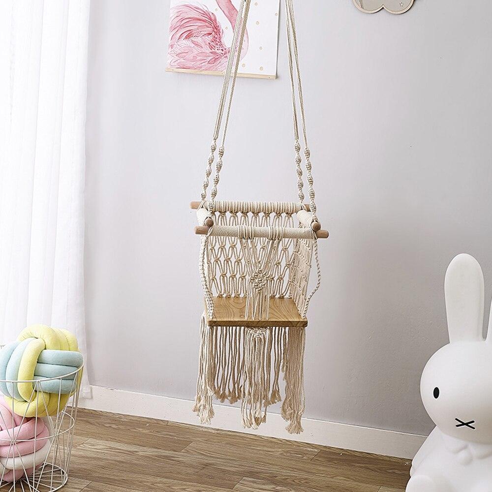 Elégance glands enfants Swing solide bois tissé corde enfants intérieur jouet chambre décor meilleur cadeau pour princesse filles garçons tout-petits bébé