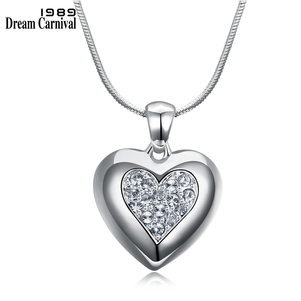 DreamCarnival 1989 Flash Deal Sales Party Jewelry parure Bijoux femme Pink Crystals Heart Pendant Necklace for Women 18N1019 13