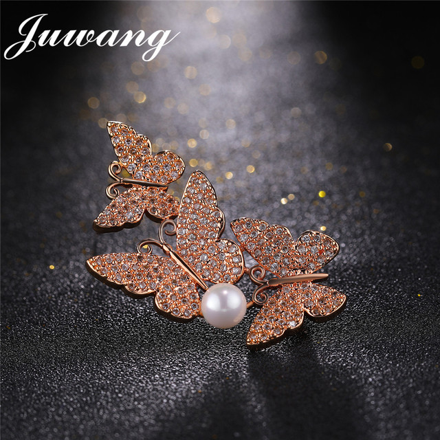 JUWANG New Butterfly Cubic Zirconia Brooch Pin for Women Imitation Pearl Corsages Sweater Suit Accessories Pins