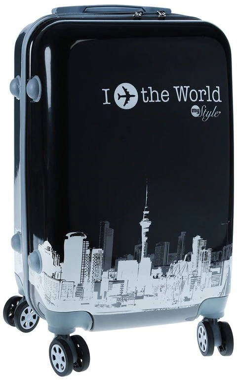 Fashionable suitcase with print PROFFI TRAVEL PH8654, M, plastic, with combination lock lovoyager vb14004 fashionable pet front chest dog travel carrier bag