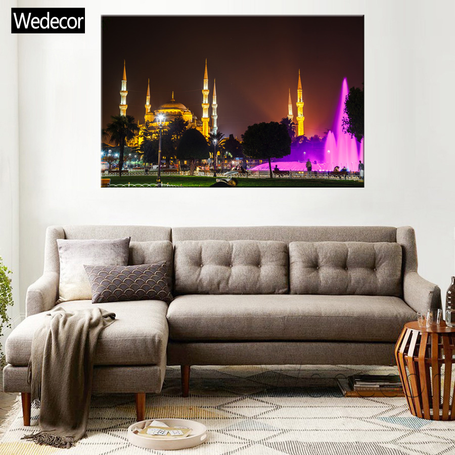 Us 3 9 5 Pieces Hd The Blue Mosque Istanbul Turkey Night Canvas Prints Painting Poster Wall Art Home Decor For Living Room W190 14 In