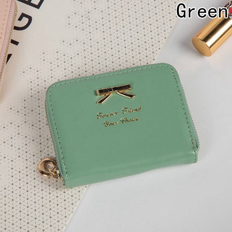 Candy Colors Bow Design Women Leather Wallet Short Pink Mini Money Bag Wallet Coin Card Girls Purses Holders Clip lovely new style wallet women short girls purses card holders wallet long solid with inlaid pearls pattern wallet designer500862