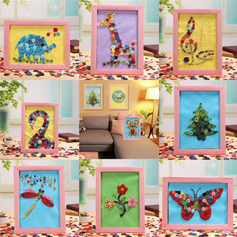 1 Set DIY Handmade Blocks Cartoon Animals Button Painting Baby Kids Early Learning Games Gifts Educational Toys For Children