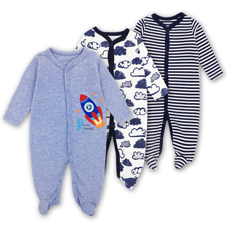 3 PCS Brand Baby Romper Long Sleeves 100% Cotton Baby Pajamas Cartoon Printed Newborn Baby Girls Boys Clothes mother nest baby romper 100% cotton long sleeves baby gilrs pajamas cartoon printed newborn baby boys clothes infant jumpsuit