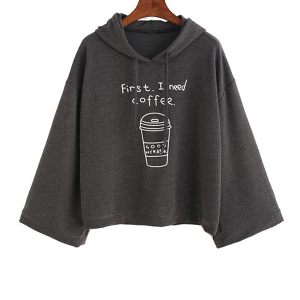 Korean Style Funny Women Hoodies Long Sleeves Gray Letter Print Hooded Sweatshirt Pullovers