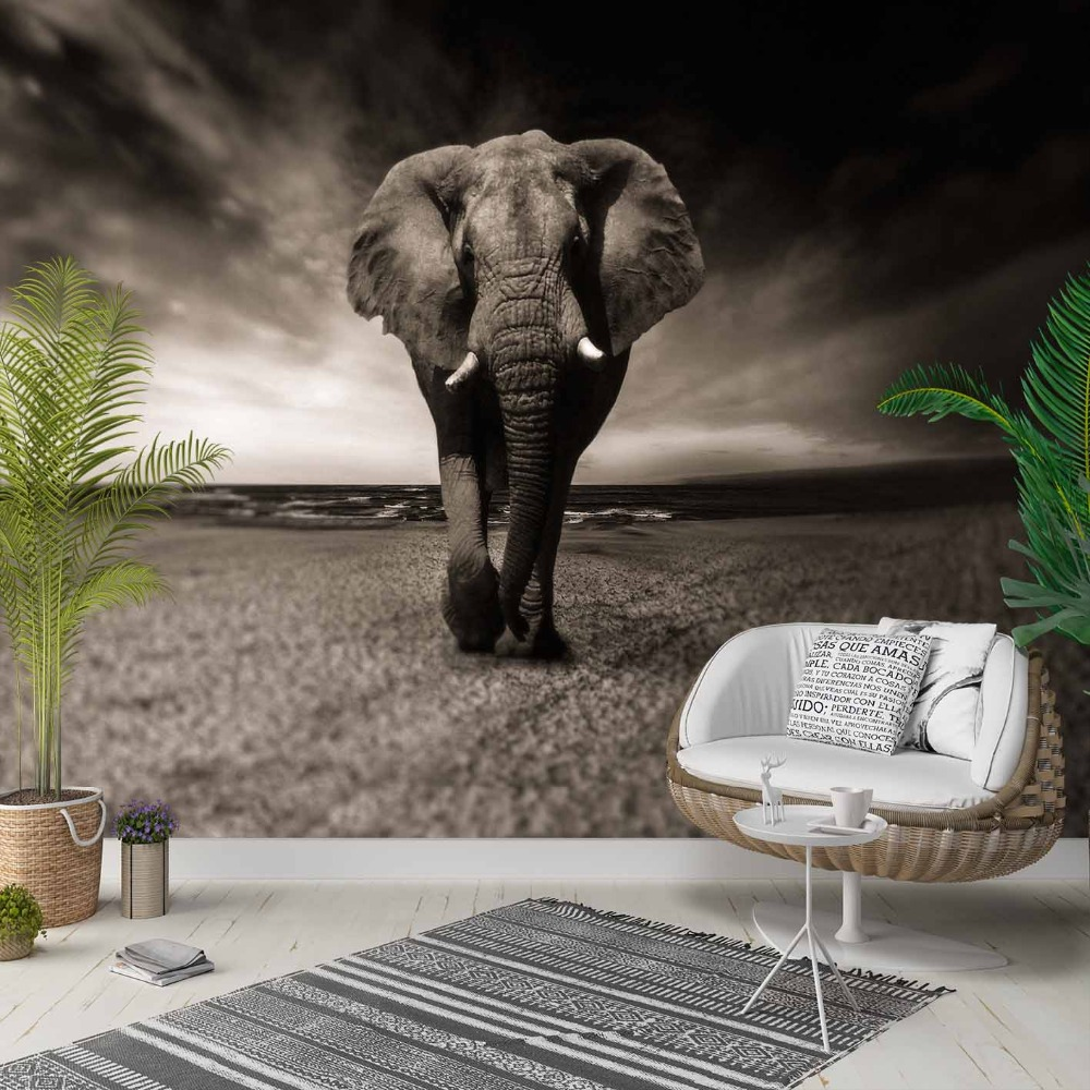 Else Black Gray White Africa Elephant Animal 3d Photo Cleanable Fabric Mural Home Decor Living Room Bedroom Background Wallpaper